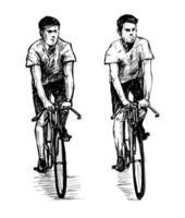 boceto de hombres librando bicicletas de piñón fijo vector