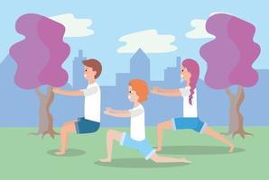 jovens fazendo ioga ao ar livre