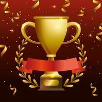 banner de celebração com troféu de ouro