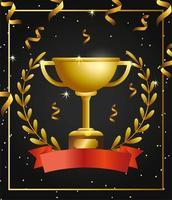 design de modelo de celebração de prêmio com troféu
