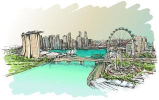 Color sketch of Singapore skyline  vector