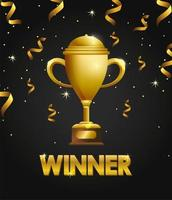 diseño de plantilla de celebración de premio con trofeo