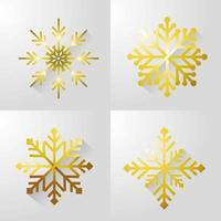 Set of gold snow flake icons vector