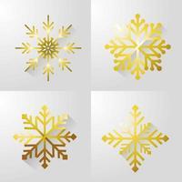 Set of gold snow flake icons