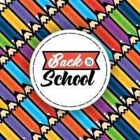 Back to school pattern background with pencils vector