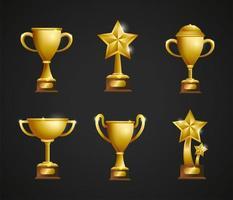 Conjunto de trofeos y copas de premios de oro.