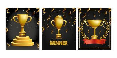 Tarjeta de felicitación de celebración con trofeos de oro.