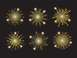 Golden fireworks icon set