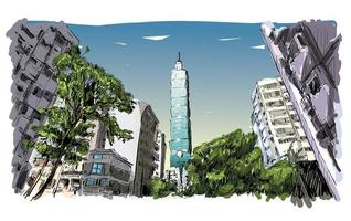 Color sketch of Taiwan cityscape with skyscrapers vector