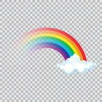 Fading rainbow with clouds vector