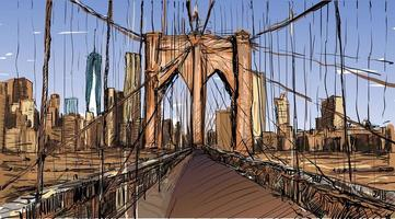 Color sketch of New York City's Brooklyn Bridge cityscape vector