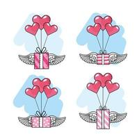Heart balloons with winged gifts boxes icon set