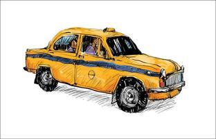 Boceto a color de un viejo taxi