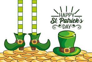 St. Patrick day banner with Irish hat and boots vector