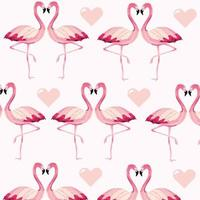 Flamingos and hearts pattern background
