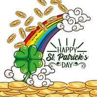 st. banner do dia patrick com moedas de ouro