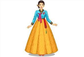 Beautiful South Korean women in traditional costume vector