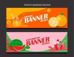 Set banner for fruits fresh juice vector