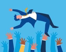 Successful business people celebrating characters vector