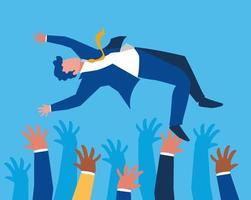gente de negocios exitosa celebrando personajes vector