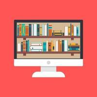 concepto de biblioteca y educación en línea vector