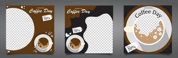feeds de instagram para el día del café vector