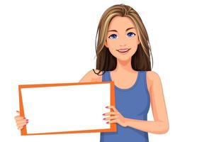 hermosa adolescente sosteniendo un tablero en blanco