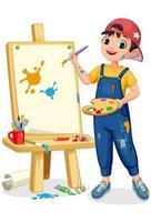 lindo artista niño pintando sobre lienzo vector