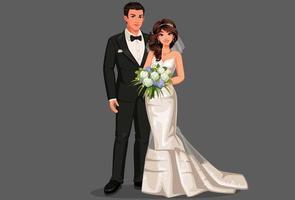 hermosa pareja de boda vector