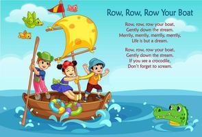 Row, Row, Row poem vector
