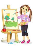 artista niña pintura sobre lienzo vector