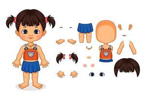 ensamblar las partes del cuerpo de la niña vector