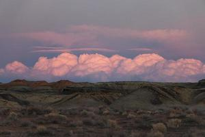 Pink clouds in desert