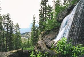 Waterfalls near trees photo