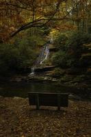Bench near a small waterfall photo