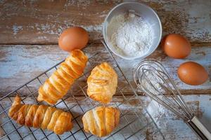 Fresh bread and flour with eggs