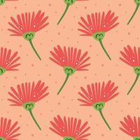 Natural elements pink flower seamless pattern
