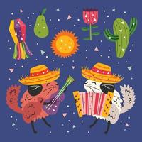 mexico pequenas chinchilas fofas e conjunto de elementos