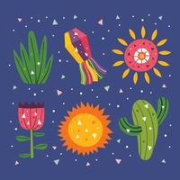 Mexico cute sun, decor, cactus, grass and flower set vector