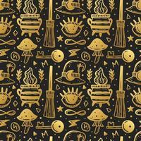 dorado, halloween, seamless, patrón vector