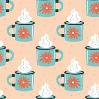 Light blue cup with steam seamless pattern