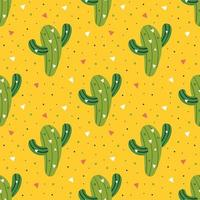 Little cute green cactus on yellow seamless pattern vector