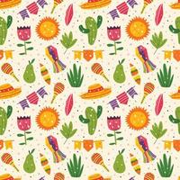 Mexico holiday cute decor seamless pattern vector