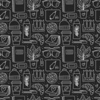 Black and white office stationery and item seamless pattern vector
