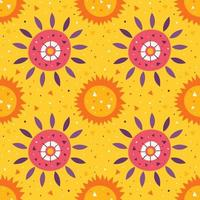 Little cute sun and flower on yellow pattern vector