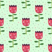 Little cute pink flowers on green seamless pattern vector