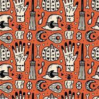 elementos de halloween dibujados a mano de patrones sin fisuras vector