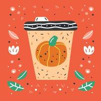 Pumpkin spice latte hand drawn coffee cup vector