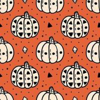Autumn Halloween pumpkin seamless pattern vector
