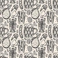 Oktoberfest sketch style seamless pattern